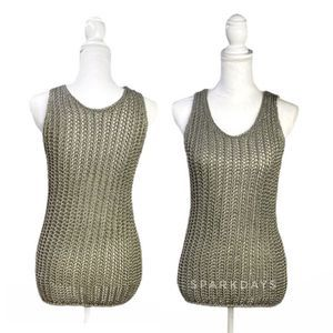 Vince Olive Green Soft Cable Knit Tank Top Shirt M